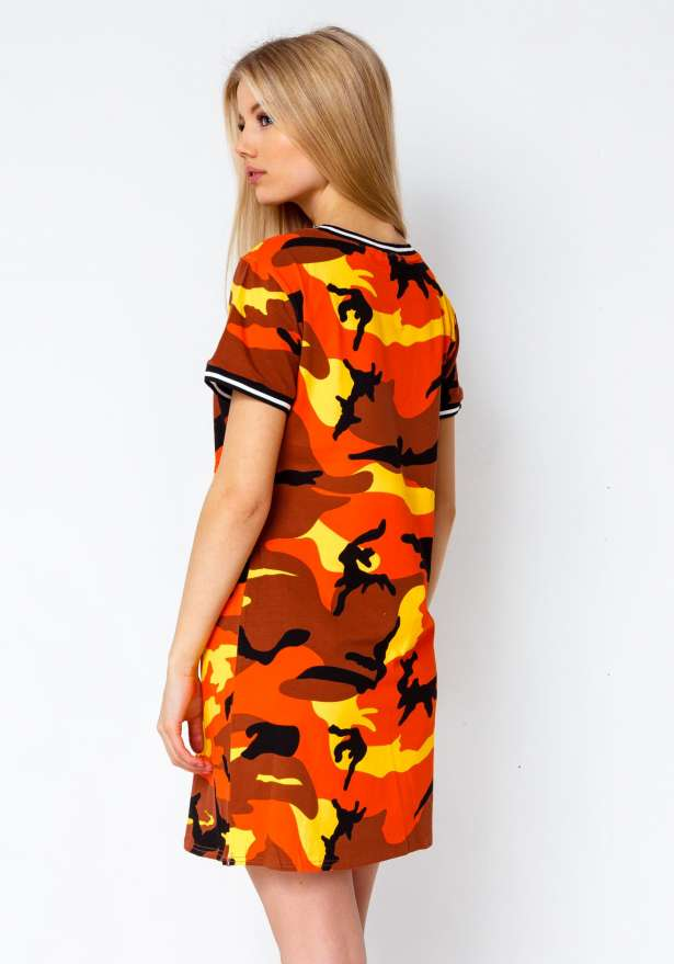 Premium Camo T-Shirt Dress In Orange