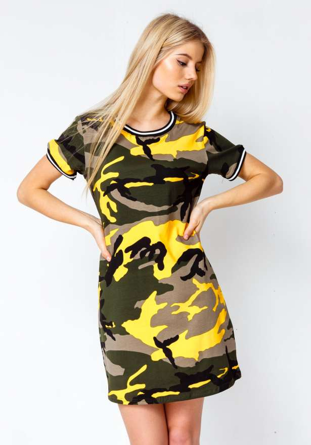 Premium Camo T-shirt Dress In Yellow