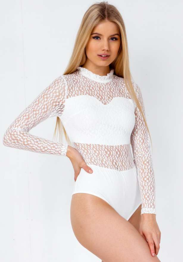 Hanna Lace Detail Long Sleeve Body In White