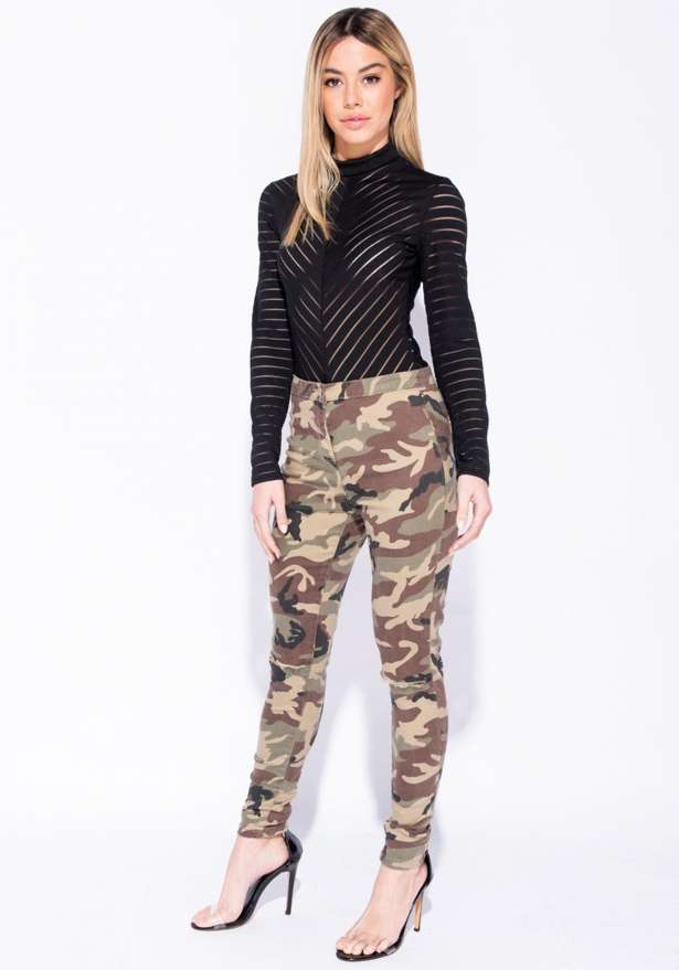 Camo Knee Rip High Waist Jeggings