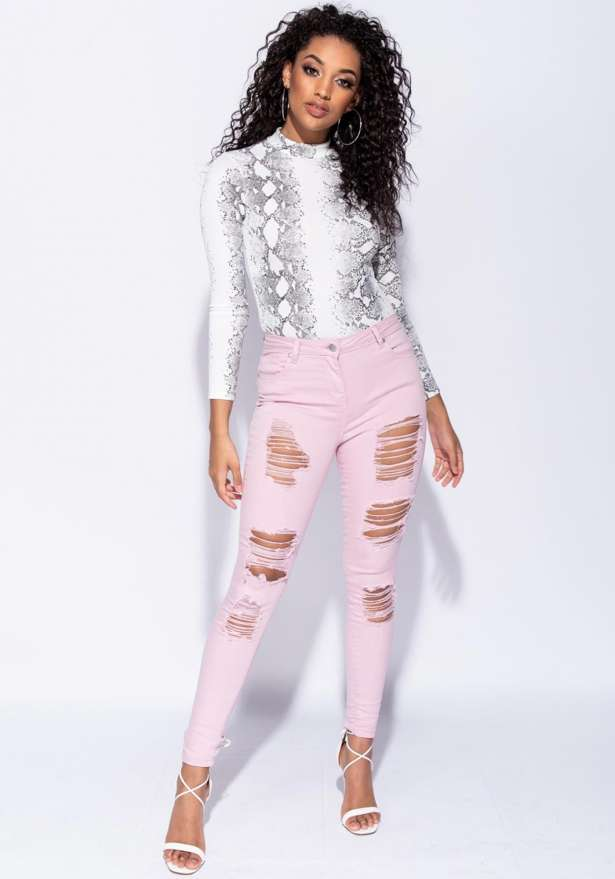 Multi Rip Mid Rise Skinny Jeans In Pink