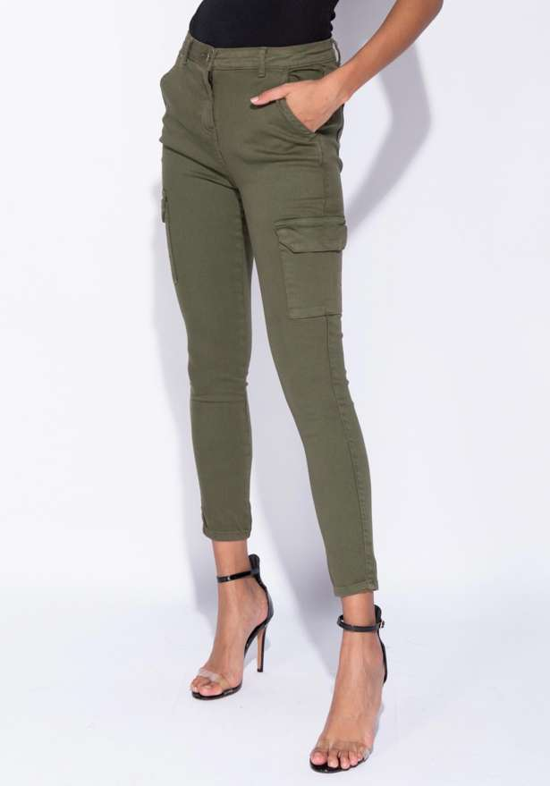 Pocket Detail Cargo Jeans In Khaki