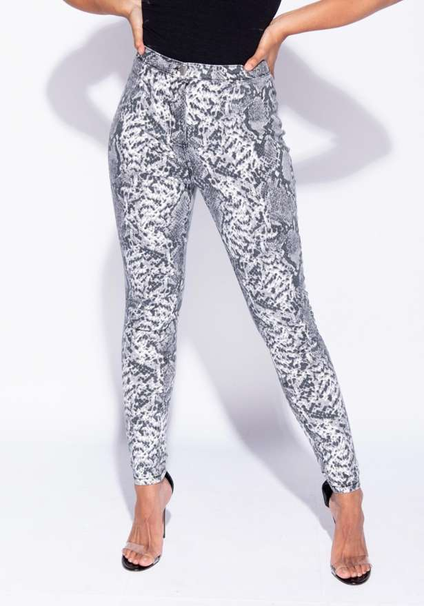 Snake Print High Waisted Jeans Leggings In Grey