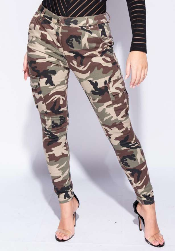 Camouflage Patch Pocket Skinny Cargo Trousers