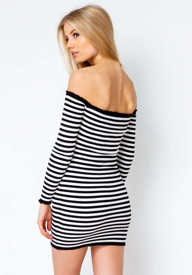 Off Shoulder Lizzy Bodycon Stripe Dress In Black