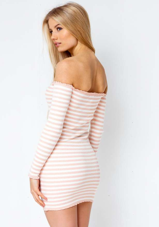 Off Shoulder Lizzy Bodycon Stripe Dress In Pink