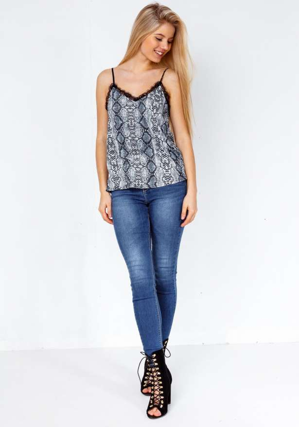 Snake Print Lace Detail Strap Top In Grey