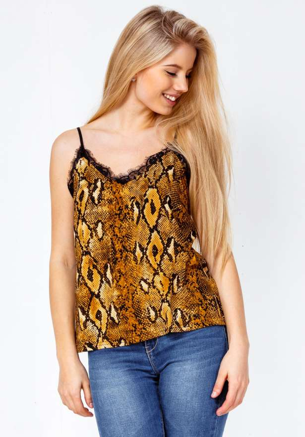 Snake Print Lace Detail Strap Top In Camel