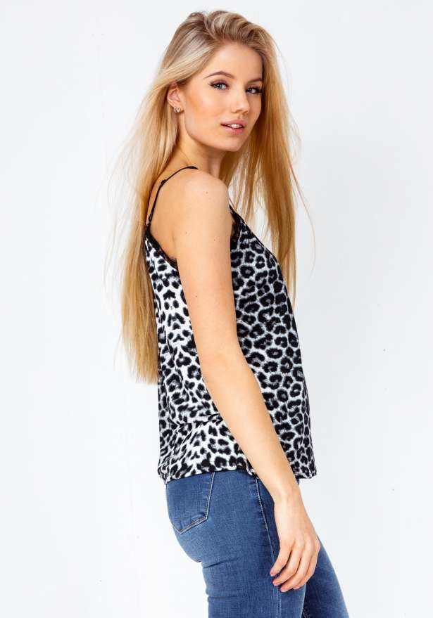 Leo Print Lace Detail Strap Top In Grey