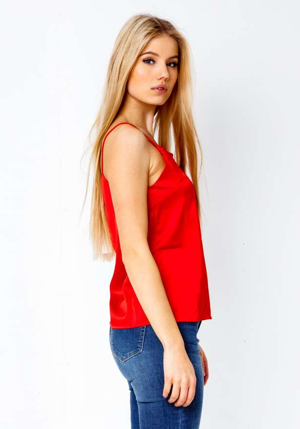 Fay Satin Lace V Strap Top In Red