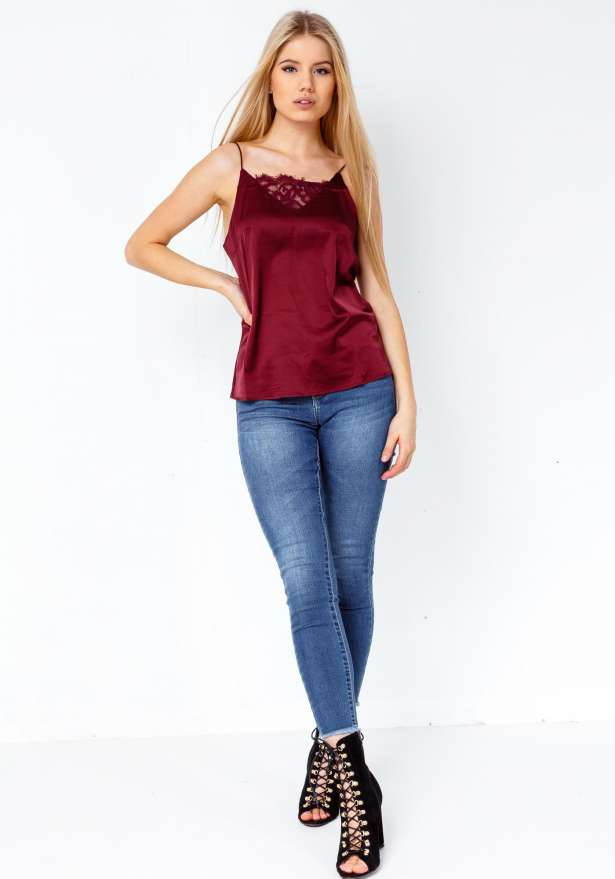 Fay Satin Lace V Strap Top In Wine