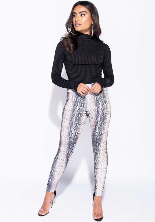 Snake Print High Waist Leggings In Ash