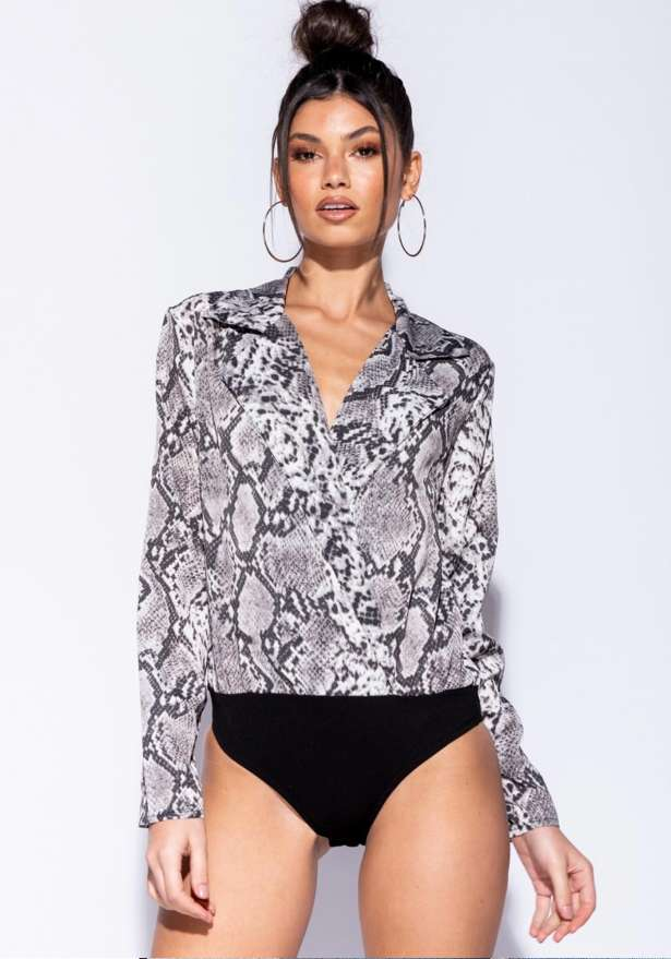 Snake Print Lilly Wrapover Front Bodysuit