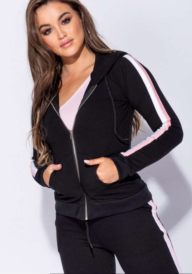 Side Stripe Cardi B Zip Front Hooded Lounge Set In Black