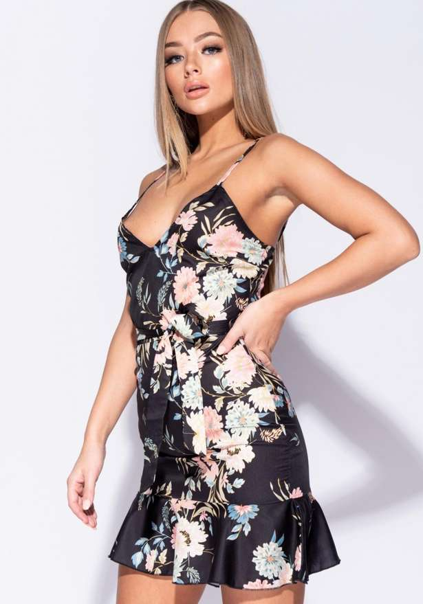 Olivia Floral Frill Hem Belted Cami Dress In Black