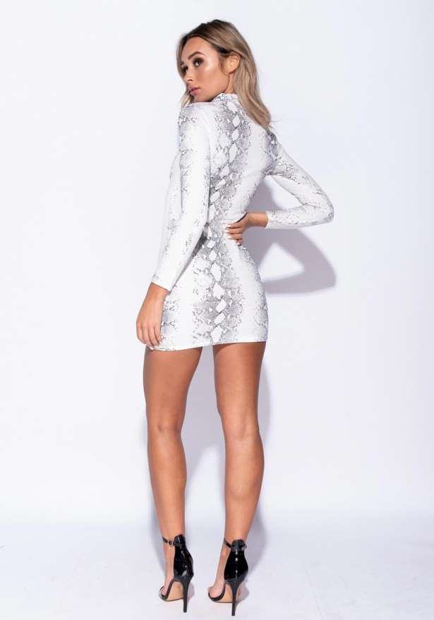 Snake Skin Print High Neck Bodycon Dress