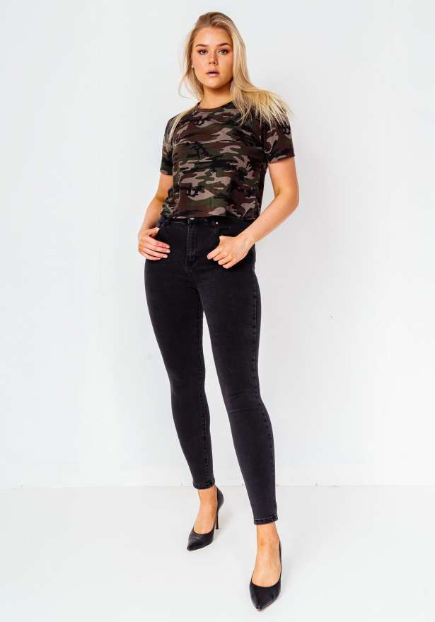 High Waist Premium Skinny Stretch Jeans In Washed Black