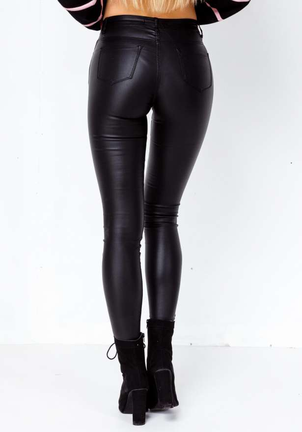 Skinny Fit Faux Leather Jeans Pants In Black