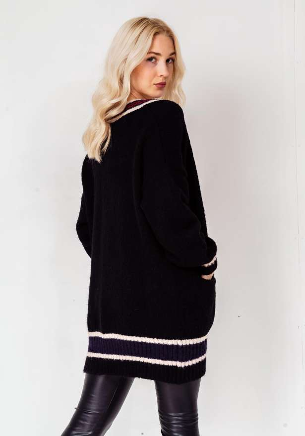 Knitted Premium Full Sleeve Long Cardigan In Black