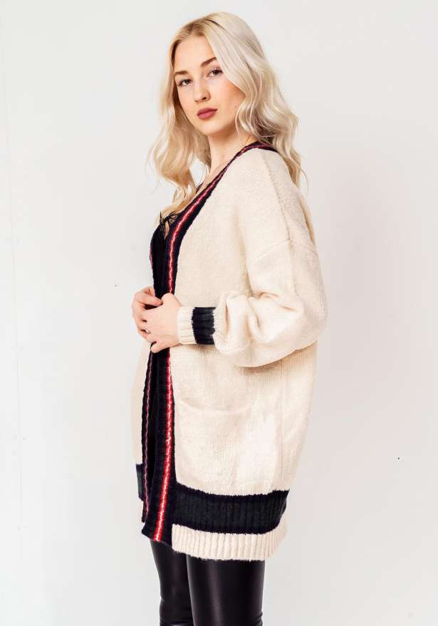 Knitted Premium Full Sleeve Long Cardigan In White