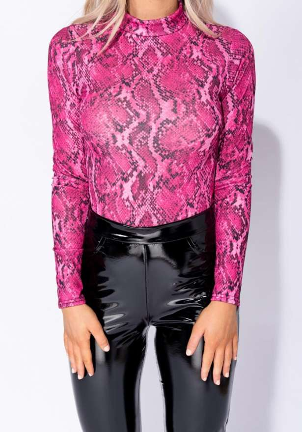 Snake Print High Neck Bodysuit In Pink