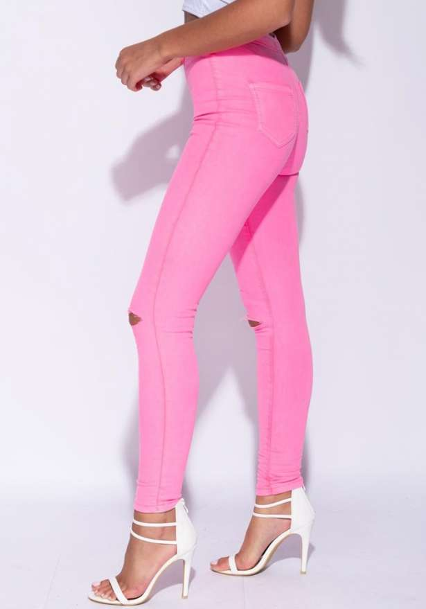 High Waist Knee Slash Jeggings In Neon Pink
