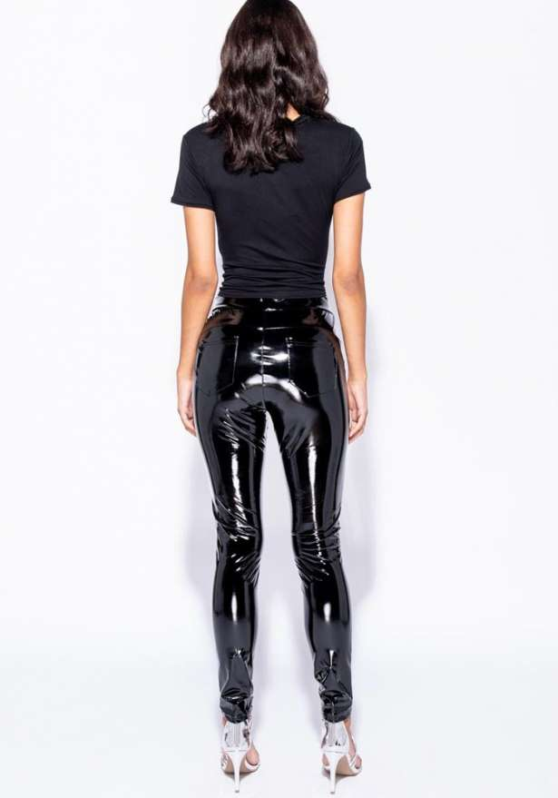 High Shine Vinyl High Waisted Jegging Trousers In Black