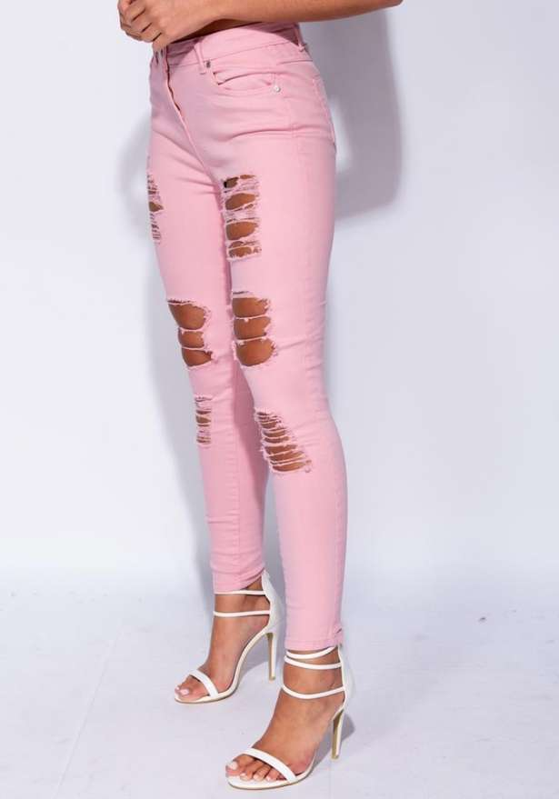 High Waist Distressed Skinny Jeans In Pink