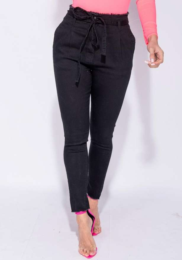 Denim Paperbag Waist Frayed Hem Jeans In Black