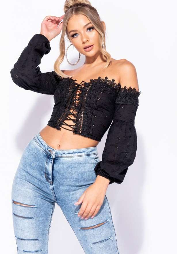 Boho Broderie Lace Up Front Puff Sleeve Crop Top In Black