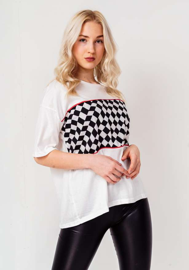 Old School Crop Checked Print T-Shirt In White