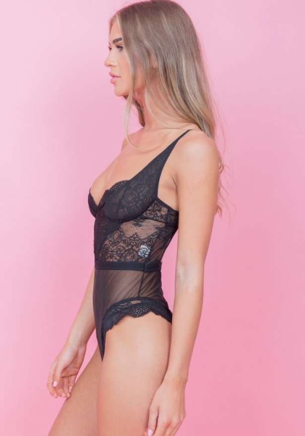 Floral Lace Half Cup Bodysuit In Black