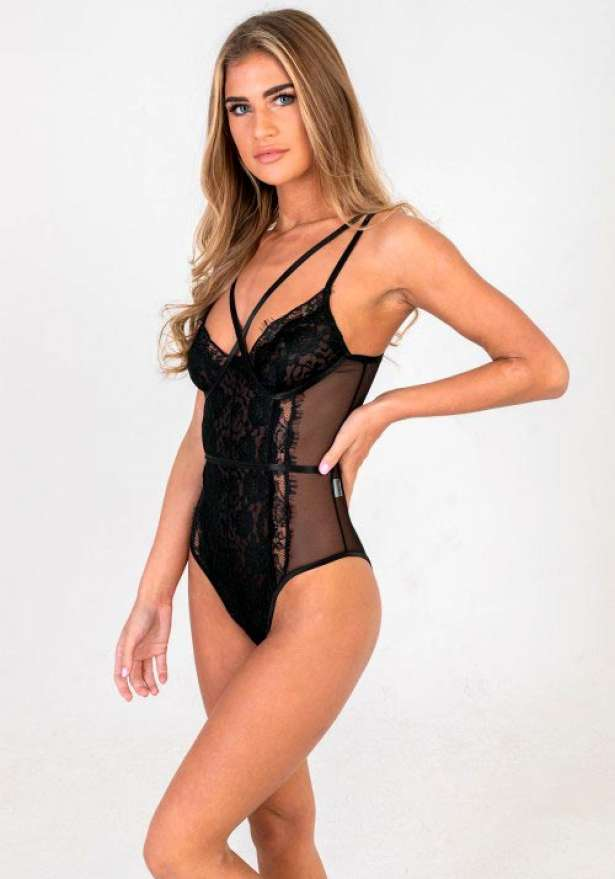 Crossed Front Detail Lace Bodysuit In Black