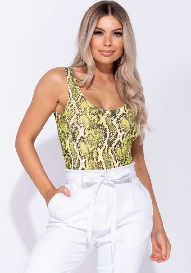 Snake Print Scoop Neck Bodysuit In Yellow