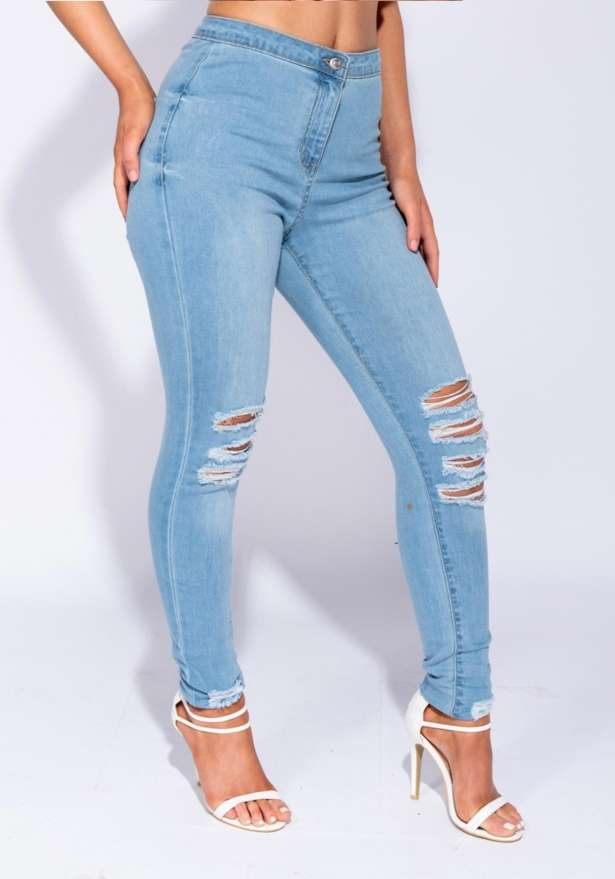 Seattle High Waisted Light Denim Distressed Jeggings