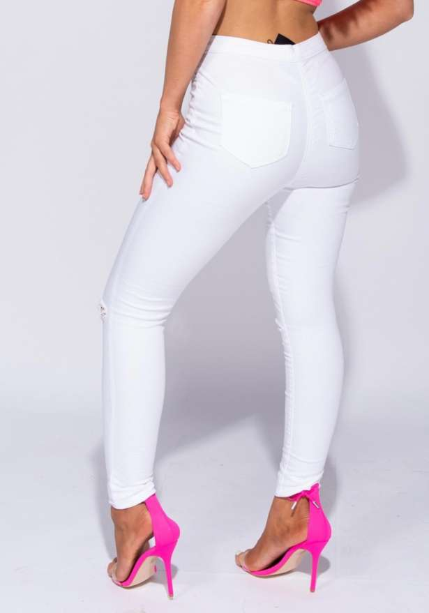 Los Angeles High Waisted Knee Slit Jeggings