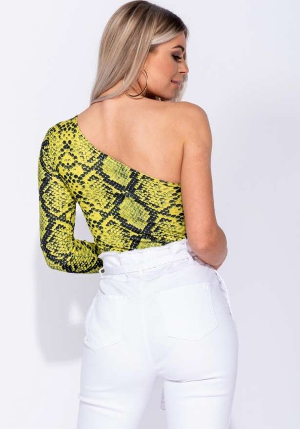 Snake One Shoulder Long Sleeve Bodysuit In Yellow