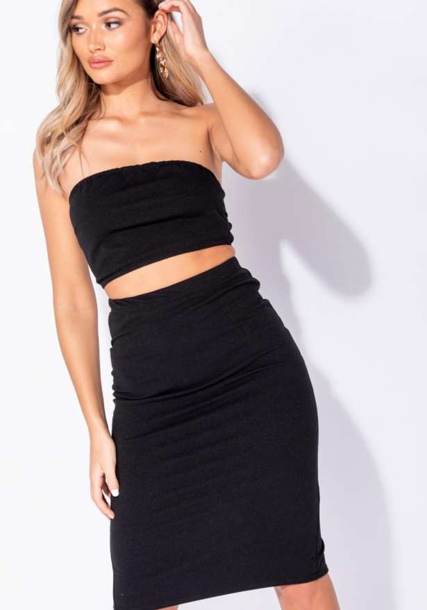 Parisianne Bandeau Crop Top In Black