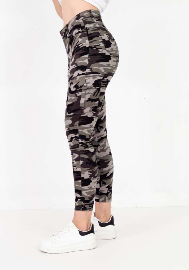 Camo Skinny Fit Side Pockets Pants In Grey