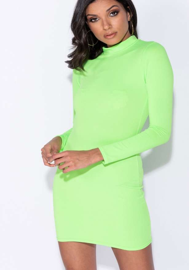 High Neck Long Sleeve Bodycon Mini Dress In Neon Green