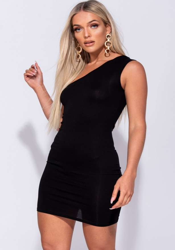 One Shoulder Bodycon Mini Dress In Black