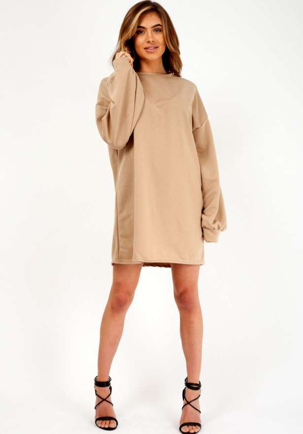 Boyfriend Oversize Sweater Dress In Beige