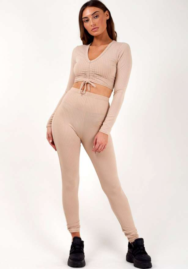 Ruched Crop Top Legging Ribbed Co ord In Beige