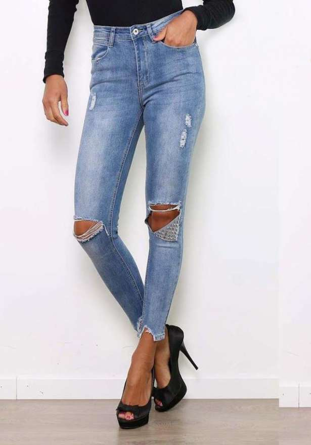 Blue Knee Rip Metal Detail Stretch Jeans