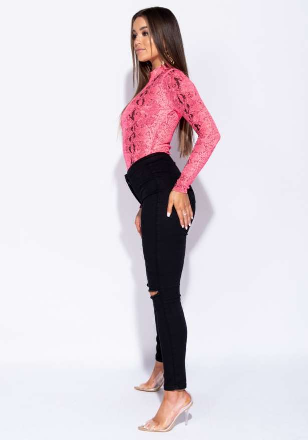 Snake Print High Neck Bodysuit In Neon Pink