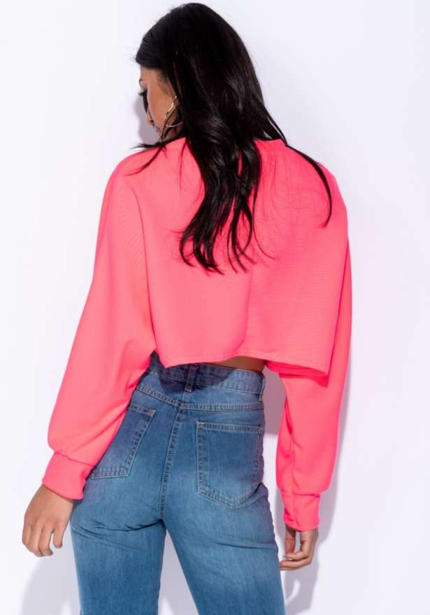 Batwing Sleeve Cropped Sweatshirt In Neon Pink