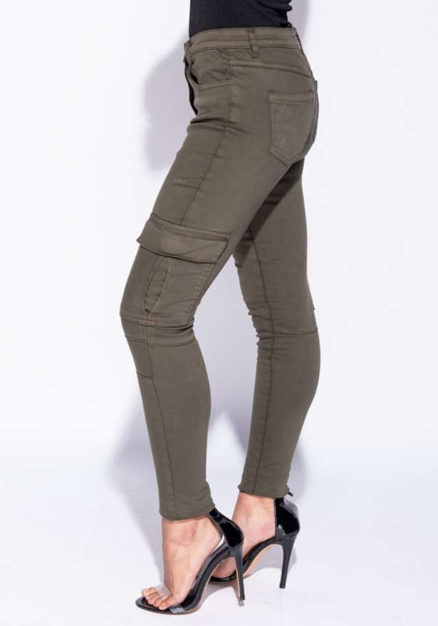 High Waist Cargo Jeans In Khaki