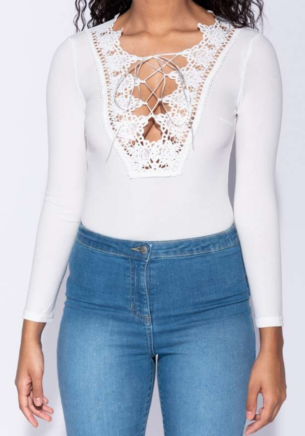 Lace Up Front Crochet Trim Long Sleeve Bodysuit