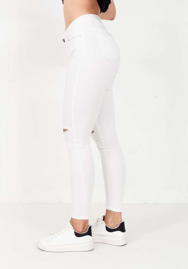 High Waisted Ripped Knee Jeggings In White