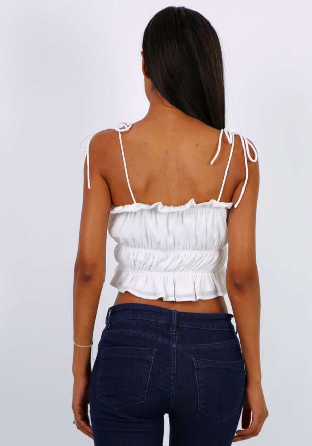 Puffy Strap Cropped Top in White